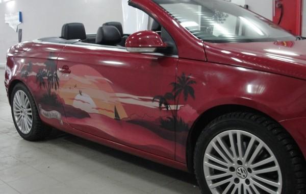 Volkswagen EOS винилография, печать на прозрачной пленке